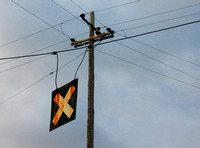 Telephone Pole and Train Crossing Sign